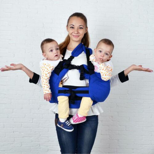 Blaue Doppelkindertrage für Zwillinge