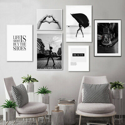 Black White Fashion Poster Holding Hand Beauty Quotes Canvas Print Wall Decor Ebay