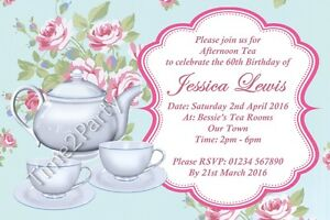 Image Is Loading Personalised Vintage Afternoon Tea Garden Party Birthday Invitations