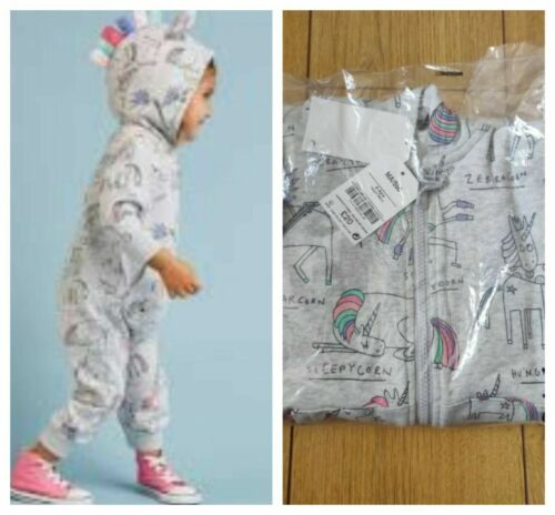 NEXT Unicorn All-In-One Jumpsuit Girls Age 2-3 5-6 Years Grey Print Hood BNWT