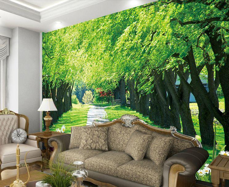 3D Green Trees Field 098 Wallpaper Decal Decor Home Kids Nursery Mural  Home