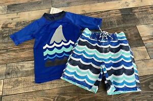 4acfd25661 NWT Gymboree Boys Shark Waves Swim Set Rashguard And Swim Trunks ...