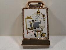 "Vintage Whiskey Norman Rockwell Gold Decanter Bottle ""Triple Self-Portrait"""