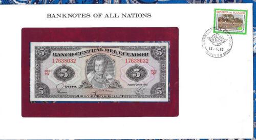 Banknotes of All Nations Ecuador 1982 5 Sucres UNC P108b.2 Serie HV