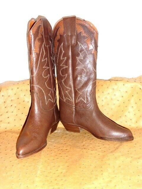 SUPERBE BOTTES WESTERN TOUT CUIR brown VINTAGE 80 NEUF T.36