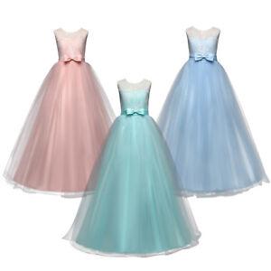 blumenmädchen kleid spitze tüll maxikleid für kinder hochzeit party abendkleider  ebay