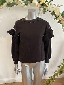 Influence-Sweatshirt-Jumper-Size-8-amp-12-Ruffle-Pearl-Detail-Black-Top-New-GE31