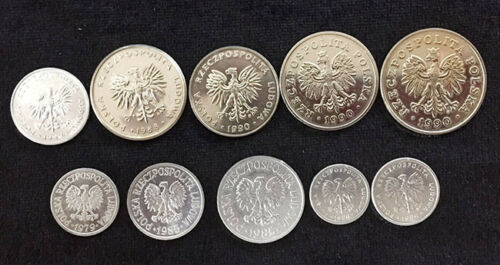 POLAND SET 10 COINS 1 2 5 10 20 50 GROSZY 10 20 50 100 ZLOTY 1979-1990 UNC