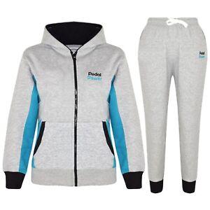 f1d12479da72 Details about Kids Girls Tracksuit Grey Designer Pedal Power Zipped Top  Bottom Jogging Suits