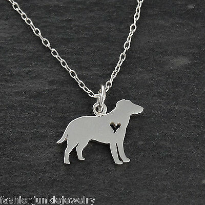 Labrador Retriever with Heart Cutout Charm Sterling Silver for Bracelet Lab Dog