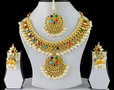 Gold Tone Kundan Pearl Necklace Earring Indian Bollywood Jewelry Set Bridal