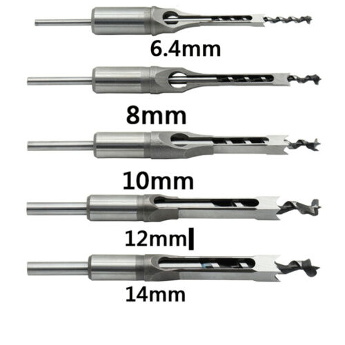 Square Hole Saw Auger Drill Bit Set 6.4-16mm Mortising Chisel Carve Woodworking