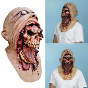 Halloween-Scary-Cosplay-Prop-Costume-Melting-Face-Latex-Adult-Bloody-Zombie-Mask