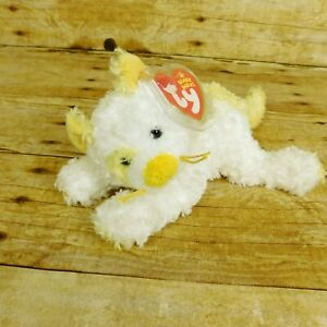 TY Beanie Babies Saffron Cat 2005 Retired Yellow White