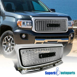 For-2015-2018-GMC-Canyon-Front-Bumper-Hood-Grille-Silver-Coated-Grill-Pickup
