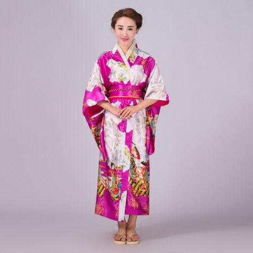 Vintage Oriental Japanese Yukata Kimono Obi Cosplay Robe Geisha Dress Wholesale