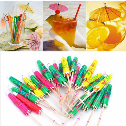 500pc 3D Exotic Drinking Straws Bar Party Umbrella Cocktail Parasol Sticks decor