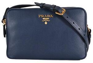 1f742477df4973 Image is loading New-Prada-1BH079-Blue-Vitello-Phenix-Leather-Bandoliera-