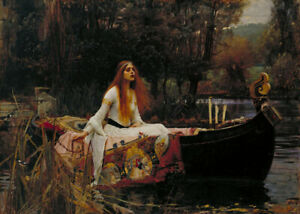 perfect-oil-painting-handpainted-on-canvas-034-lady-shalott-on-a-boat-034-15456