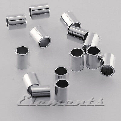 SOLID .925 STERLING SILVER 3MM x 2MM TUBE CRIMP BEADS BEADALON Findings SF049