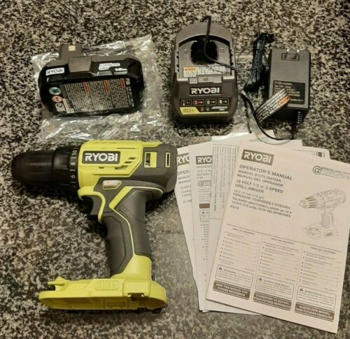 RYOBI 18V ONE Lithium-Ion Cordless 1//2 in Drill Driver Kit Battery Charger P215