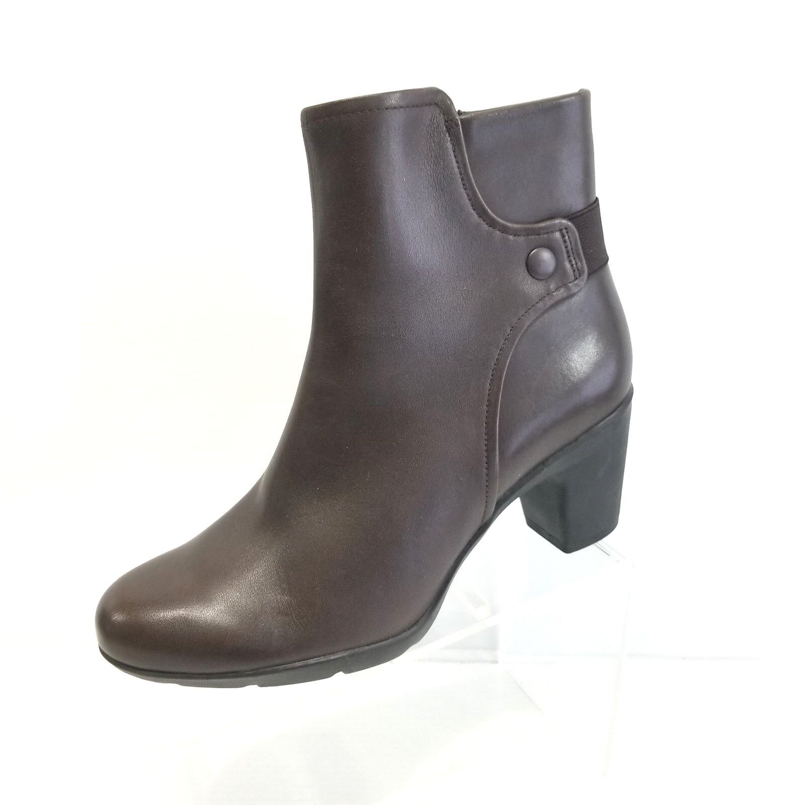 Clarks Women Lucette Jewel Dark Brown Leather Ankle Boots Rubber Sole Size 9.5M
