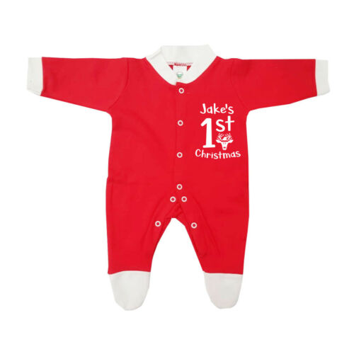 Personnaliser Nom 1ST Noël Filles Garçon Bébé pousse Chapeau Chaussures Tiny Baby 0-6 M D5