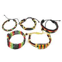 Rasta Stylish Assorted Leather Adjustable Bracelets 5 Piece Set