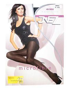 Inez-Blickdichte-Damen-Strumpfhose-40-DEN-Pantyhose-Schwarz-Grau-Microfaser-Matt