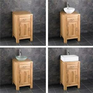 Image is loading Solid Oak 45cm Small Bathroom Vanity Unit Cabinet  Ceramic Bowl