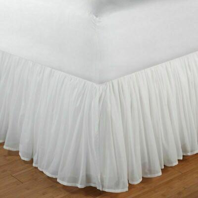 "White Bed Skirt Twin Ruffled Sheer Gathered Farm Victorian Dust Ruffle 18/"" Drop"