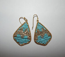 ANTHROPOLOGIE EARRINGS TURQUOISE GOLD MINI BEADS TRIANGLE SUMMER HOOK #128