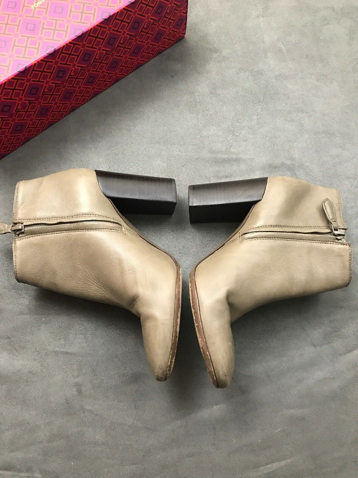 TORY Ankle BURCH Bowie Ankle TORY Bootie Slip On Taupe Fango Leder Sabe Stiefel Sz 7 #E7 d72fda