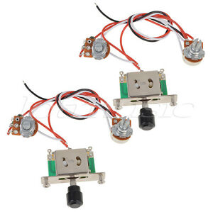 s l300 2pcs prewired guitar wiring harness 250k pots 3 way switch for  at reclaimingppi.co