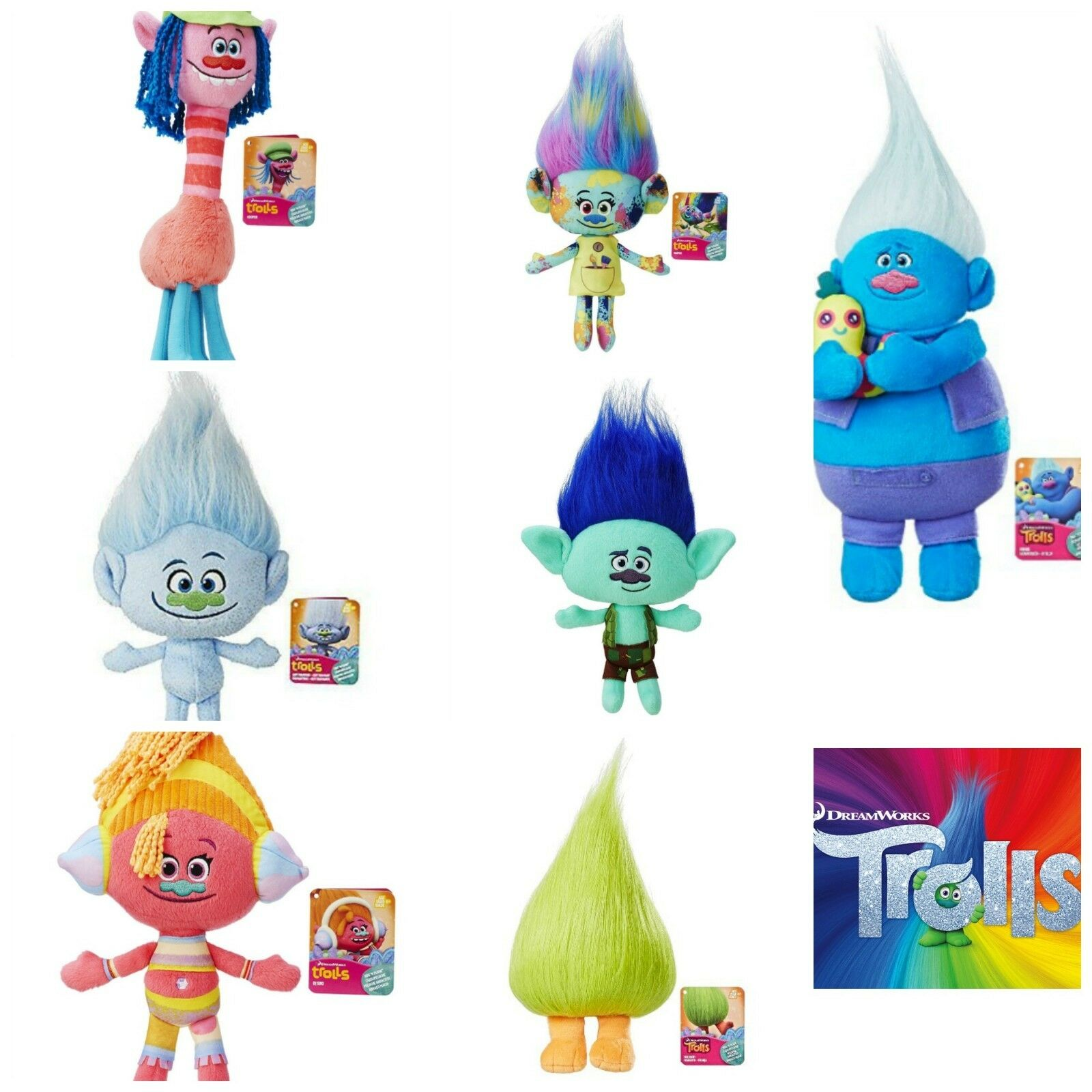 Trolls Hug N' Plush LOT of 8 Branch Harper Cooper Poppy Guy Diamond DJ Suki