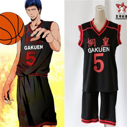 Kuroko no Basuke Gakuen Aomine Daiki No.5 Jersey Sportswear Suit Cosplay Costume