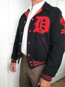 Vtg 1951 Varsity Football Letterman Jacket Dorchester Men Black Wool
