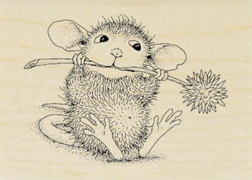 Chive Chewing HOUSE MOUSE Wood Mounted Rubber Stamp STAMPENDOUS NEW HMH04