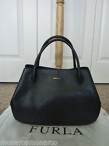NWT FURLA Classic Black Saffiano Leather New Giselle Tote Bag $398 ...