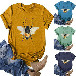 Women-Summer-Letter-Print-T-Shirts-Short-Sleeve-Bee-Tees-Tops-Tunic-Blouse-AU