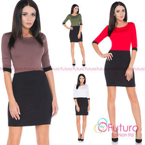 Ladies Sexy Bodycon Work Office Business Half Sleeve Two Colour Mini Dress FM29