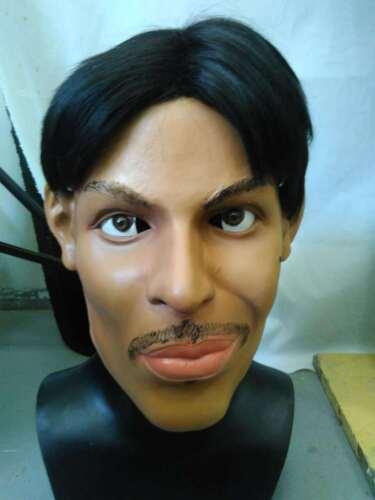 Deluxe Purple Prince Mask Latex Fancy Dress Music Artist Celebrity Costume