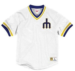 more photos edaec cfa1e Details about NEW Men's Seattle Mariners Mitchell & Ness V-Neck Mesh  Throwback Jersey MEDIUM M
