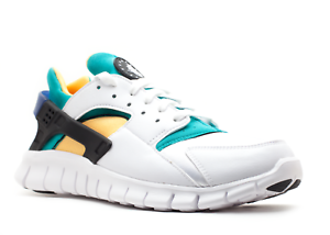 NIKE AIR HUARACHE FREE RUN SZ 9.5 WHITE blueE EMERALD RESIN