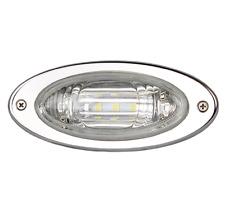 1 Marine Flush Mount Oval LED Docking Light Stainless Steel Bezel Watertight