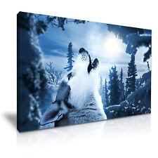 Ululando Lupo Luna tela WALL ART PICTURE PRINT 76x50cm OFFERTA SPECIALE