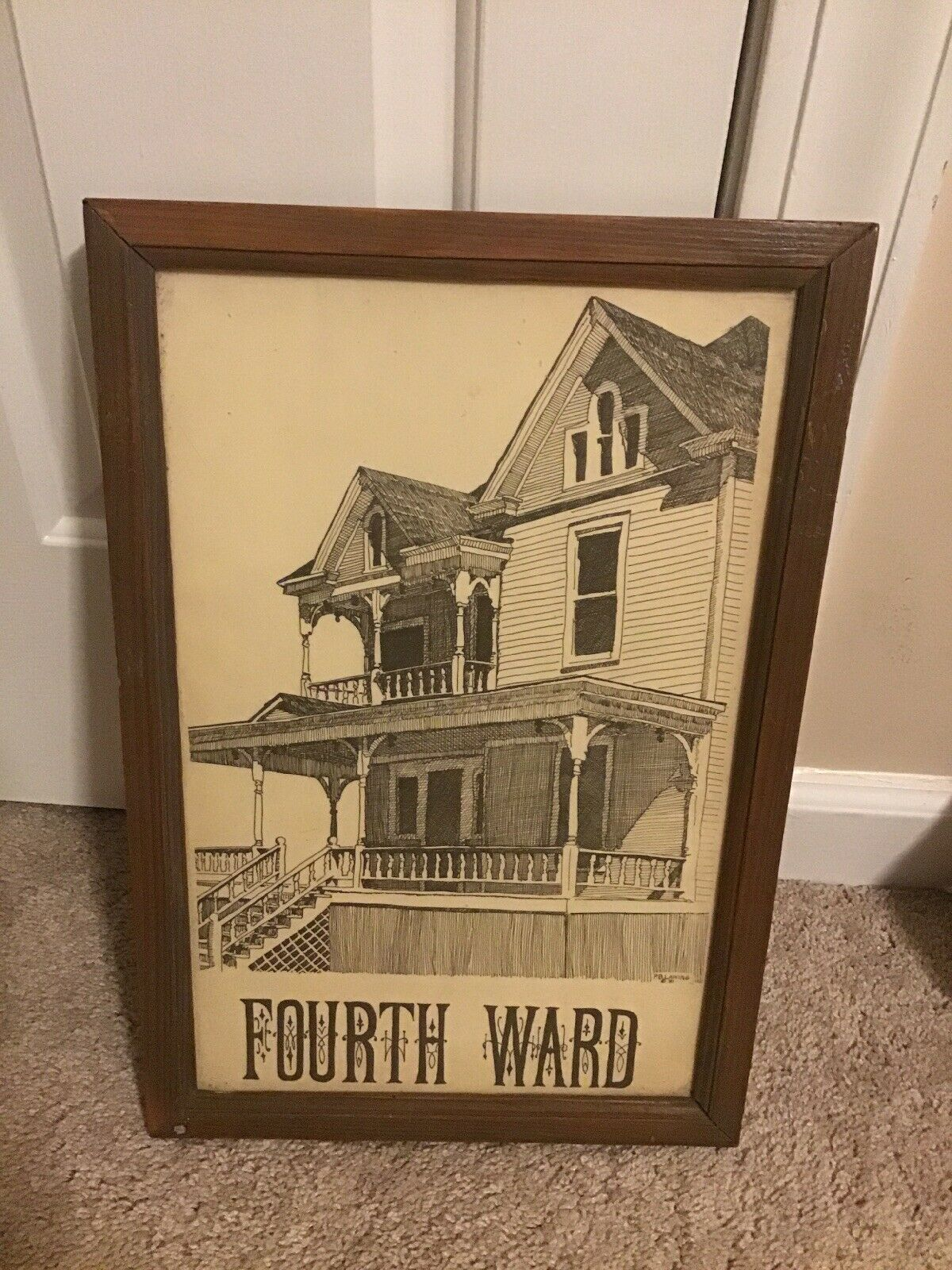 Charlotte North Carolina Fourth Ward Framed Art Print Vintage 1981