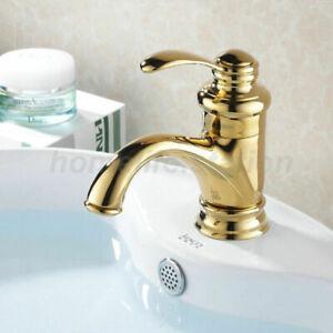 Details zu Retro Einhebel Bad Badezimmer Armatur Waschbecken Waschtisch  Gold Wasserhahn DE