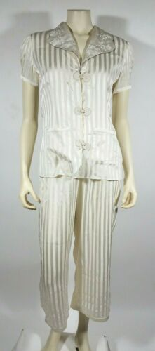 MORGAN LANE Ivory Striped Silk Pajama Set
