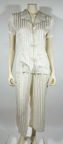 MORGAN LANE Ivory Striped Silk Pajama Set - image 1